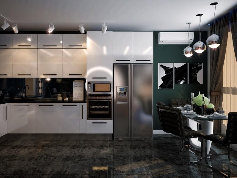 Трековые LED светильники в кухне