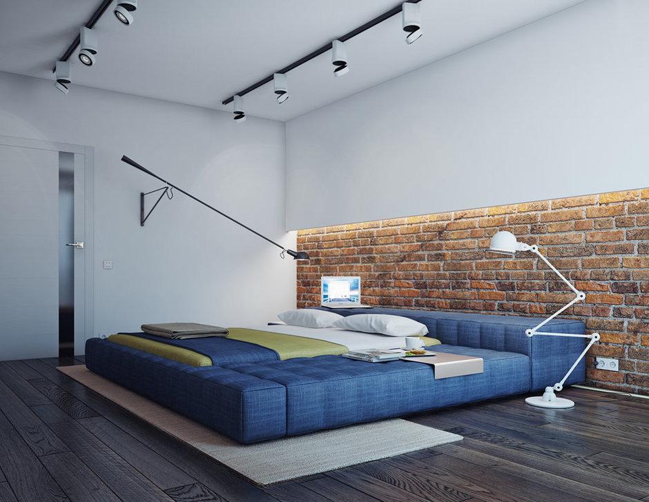 Трековые LED светильники в спальне